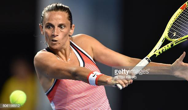 Italy's Roberta Vinci hits a return against Serbia's Germany's AnneLena Friedsa during their women's singles match on day five of the 2016 Australian...
