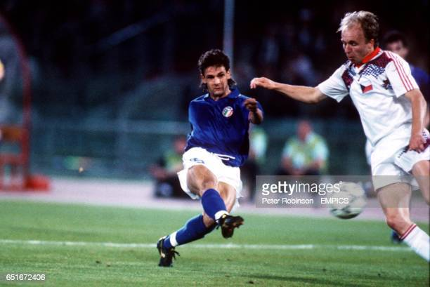 Italy's Roberto Baggio hammers the ball into the net completing a fantastic individual goal