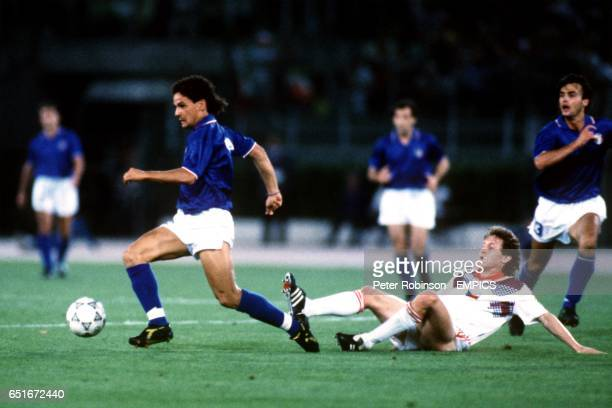 Italy's Roberto Baggio weaves his way through the Czechoslovakia defence