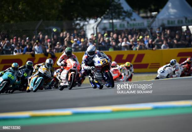 Italy's Romano Fenati competes ahead on his Marinelli Rivacold Snipers N°5 during the French motorcycling Grand Prix on May 21 2017 in Le Mans...