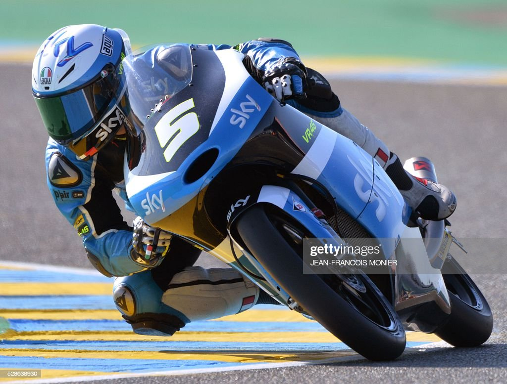 Italy's Romano Fenati competes on his KTM N5 during a moto3 free practice session, ahead of the French motorcycling Grand Prix, on May 6, 2016 in Le Mans, northwestern France. / AFP / JEAN