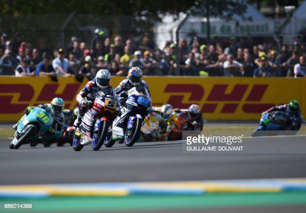 Italy's Romano Fenati competes on his Marinelli Rivacold Snipers N°5 during the French motorcycling Grand Prix on May 21 2017 in Le Mans northwestern...