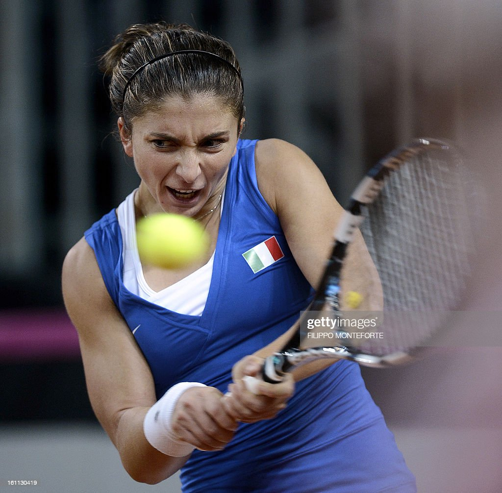 Italy's Sara Errani returns the ball to her US opponent Jamie Hampton during their Fed Cup tennis match Italy vs USA in Rimini on February 9, 2013.