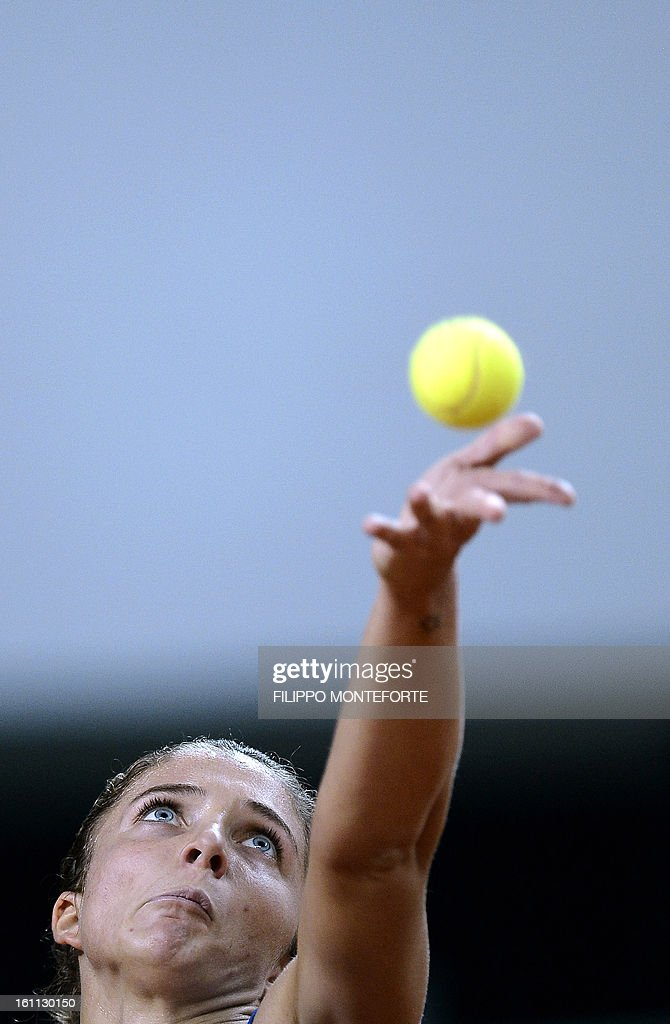 Italy's Sara Errani serves to her US opponent Jamie Hampton during their Fed Cup tennis match Italy vs USA in Rimini on February 9, 2013.