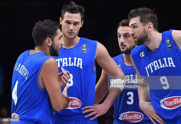 Italy's shooting guard Pietro Aradori Italy's small forward Danilo Gallinari Italy's shooting guard Marco Belinelli and Italy's center Andrea...