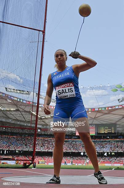 Italy's Silvia Salis competes in the qualifying round of the women's hammer throw athletics event at the 2015 IAAF World Championships at the 'Bird's...