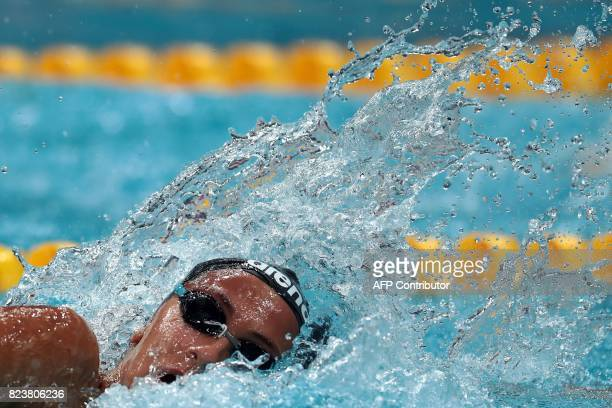 Italy's Simona Quadarella competes in a heat of the women's 800m freestyle during the swimming competition at the 2017 FINA World Championships in...