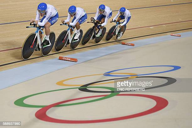 Italy's Simone Consonni Italy's Liam Bertazzo Italy's Filippo Ganna and Italy's Francesco Lamon compete in the men's Team Pursuit qualifying track...