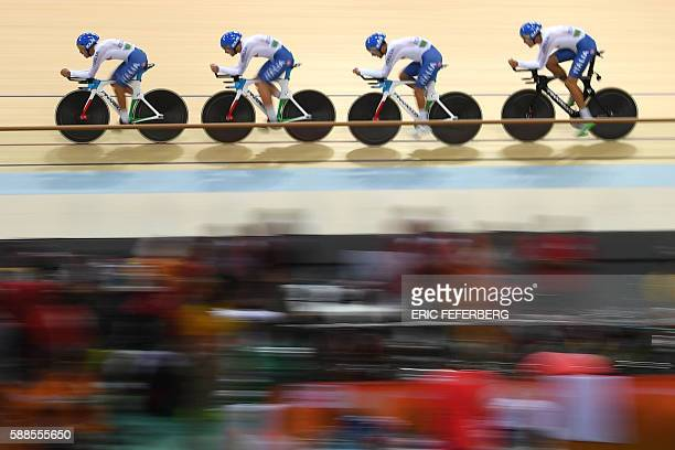 Italy's Simone Consonni Liam Bertazzo Filippo Ganna and Francesco Lamon compete in the men's Team Pursuit qualifying track cycling event at the...