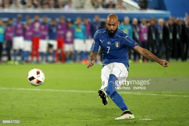 Italy's Simone Zaza misses his penalty kick in the shootout