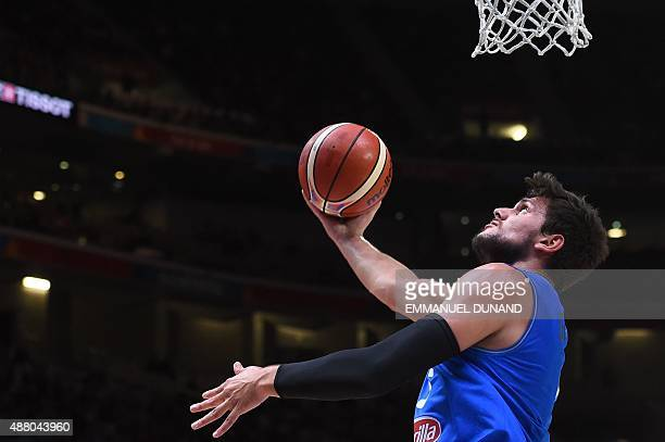 Italy's small forward Alessandro Gentile goes to the basket during the round of 16 basketball match between Israel and Italy at the EuroBasket 2015...