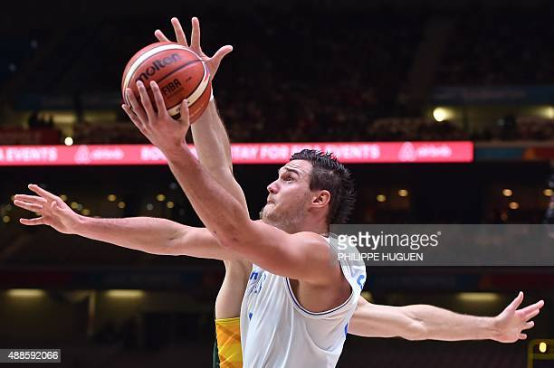 Italy's small forward Danilo Gallinari grabs the ball during the round of 8 basketball match between Italy and Lithuania at the EuroBasket 2015 in...