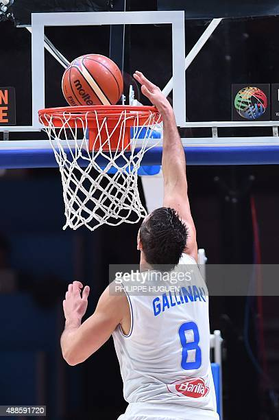 Italy's small forward Danilo Gallinari scores during the round of 8 basketball match between Italy and Lithuania at the EuroBasket 2015 in Lille...