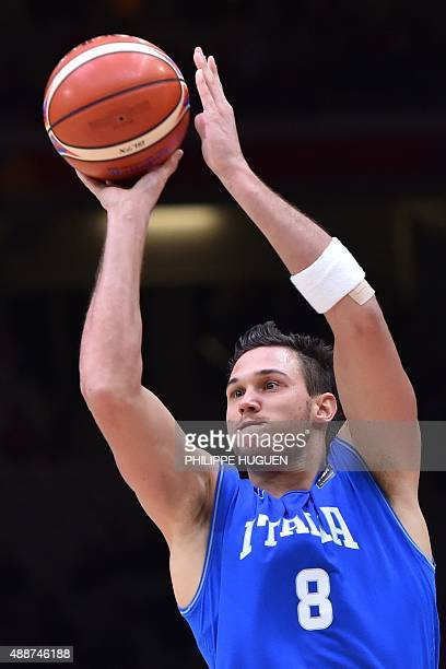 Italy's small forward Danilo Gallinari takes a shot during the classification basketball match between the Czech Republic and Italy at the EuroBasket...