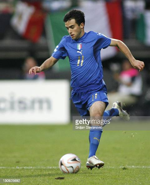 Italy's soccer player Giuseppe Rossi in action during their Olympic 2008 qualifying soccer match at the Goffert stadium in Nijmegen The Netherlands...