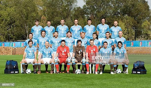 Italy's soccer team pose from L Davide Santon Alessandro Gamberini Giorgio Chiellini Nicola Legrottaglie Fabio Grosso Luca Toni Andrea Dossena Mauro...