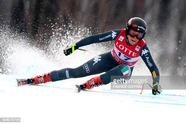 Italy's Sofia Goggia competes during the Women's Super G race at the FIS Alpine Ski World Cup in Jeongseon some 150km east of Seoul part of a test...