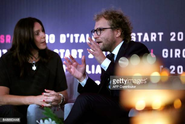 Italy's Sport Minister Luca Lotti talks to Israeli Culture and Sport Minister Miri Regev during a press conference in Jerusalem on September 18 to...