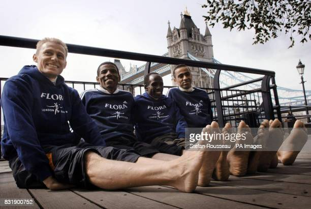 Italy's Stefano Baldini Ethiopia's Hailie Gebrselassie Kenya's Martin Lel and Morocco's Jaouad Gharib during a photo call at the Thistle Tower Hotel...