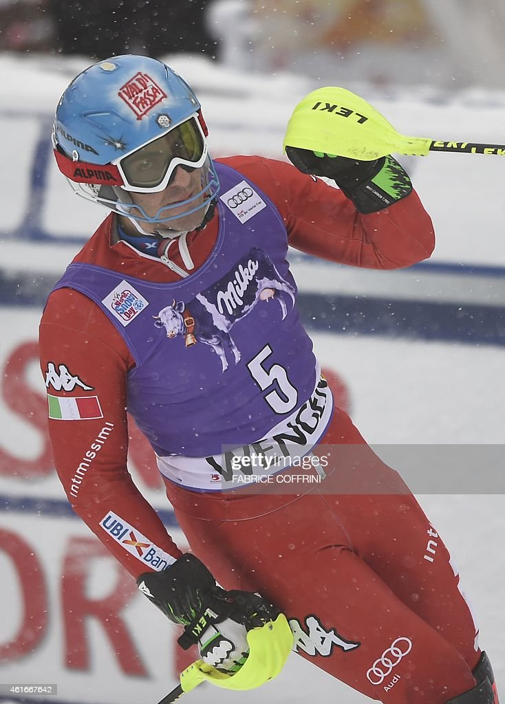 Italy's <a gi-track='captionPersonalityLinkClicked' href=/galleries/search?phrase=Stefano+Gross&family=editorial&specificpeople=5678979 ng-click='$event.stopPropagation()'>Stefano Gross</a> reacts during the run 2 of the FIS Ski World Cup Men's Slalom in Wengen on January 17, 2015.