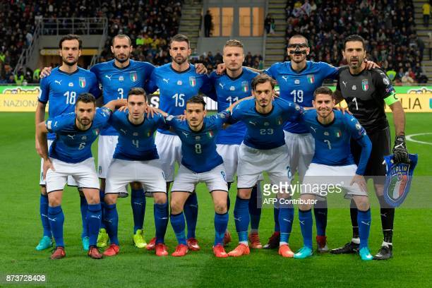 Italy's team players Italy's midfielder Marco Parolo Italy's defender Giorgio Chiellini Italy's defender Andrea Barzagli Italy's forward Ciro...