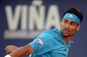 Italy's tennis player Fabio Fognini returns the ball to Nicolas Almagro from Spain during the Vina del Mar ATP tournament semifinal singles match in...