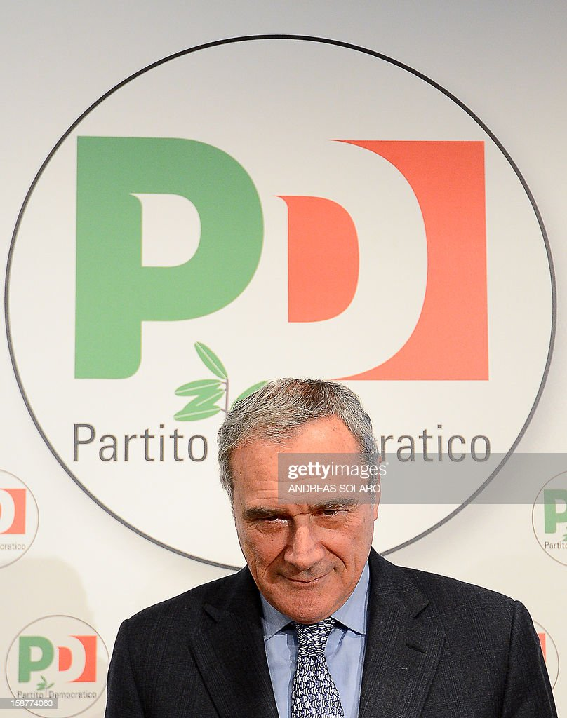 Italy's top anti-Mafia prosecutor, Piero Grasso, gives a press conference at the Democratic Party (PD) headquarters on December 28, 2012 in Rome to present his candidacy at the upcoming general elections in Italy. Italy closes 2012 on an upbeat note, with renewed confidence on the markets and optimism among analysts that the worst of the financial crisis is over, despite political uncertainty expected in the run-up to the February general election.