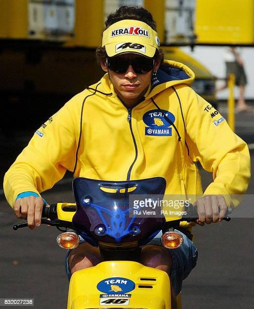 Italy's Valentino Rossi arrives for free practice at Donnington Park ahead of the British Moto GP on Sunday