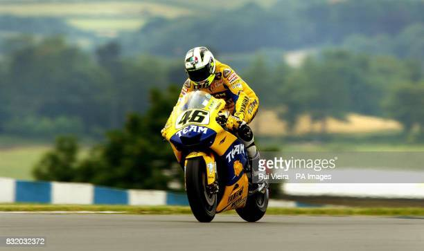 Italy's Valentino Rossi during a practice session at Donnington Park ahead of the British Moto GP on Sunday