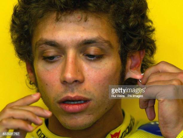 Italy's Valentino Rossi in the pits following a practice session at Donnington Park ahead of the British Moto GP on Sunday