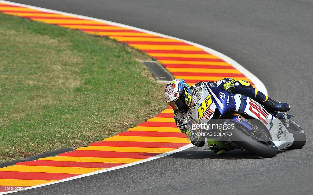 Italy's Valentino Rossi of Yamaha team rides during the MotoGP free practice of the Italian Grand Prix at Mugello track on June 05, 2010. Valentino Rossi of Yamaha fractured his right shin bone in a crash during the free practice, ruling him out of tomorrow's Italian MotoGP. The 31-year-old nine-time world champion - seven of them at this level, comprising six at MotoGp and one at 500cc - had been fastest in practice despite still suffering the effects of a shoulder injury.