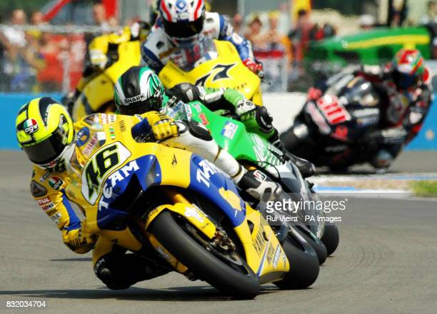 Italy's Valentino Rossi on his way to second place during the British Moto GP at Donnington Park