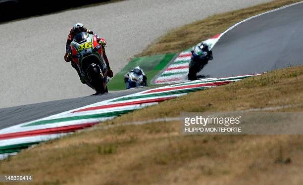 Italy's Valentino Rossi rides on July 14 2012 his Ducati during the Italian MotoGP qualifing session on the Mugello Circuit near Scarperia Rossi took...