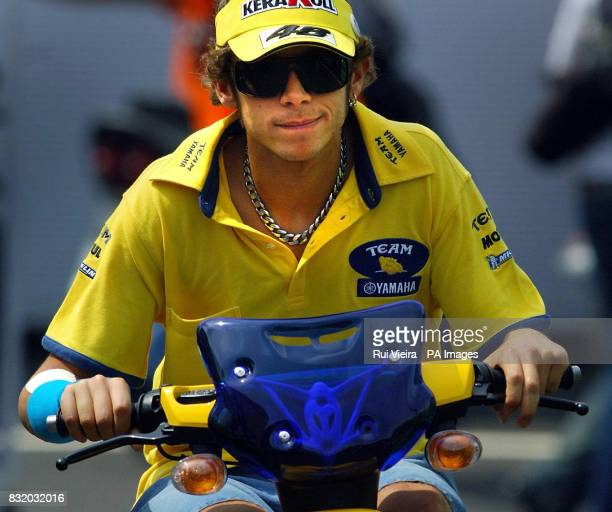 Italy's Valentino Rossi with a bandage on his wrist ahead of a practice session at Donnington Park ahead of the British Moto GP on Sunday