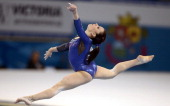 Italy's Vanessa Ferrari competes on the ground in the women's team artistic gymnastics final during the 30th European Women's Artistic Gymnastics...