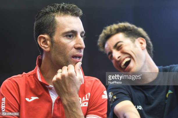 Italy's Vincenzo Nibali from BahrainMerida and Fabio Aru from Astana at the end of the Top Riders press conference at the Yas Viceroy Abu Dhabi hotel...