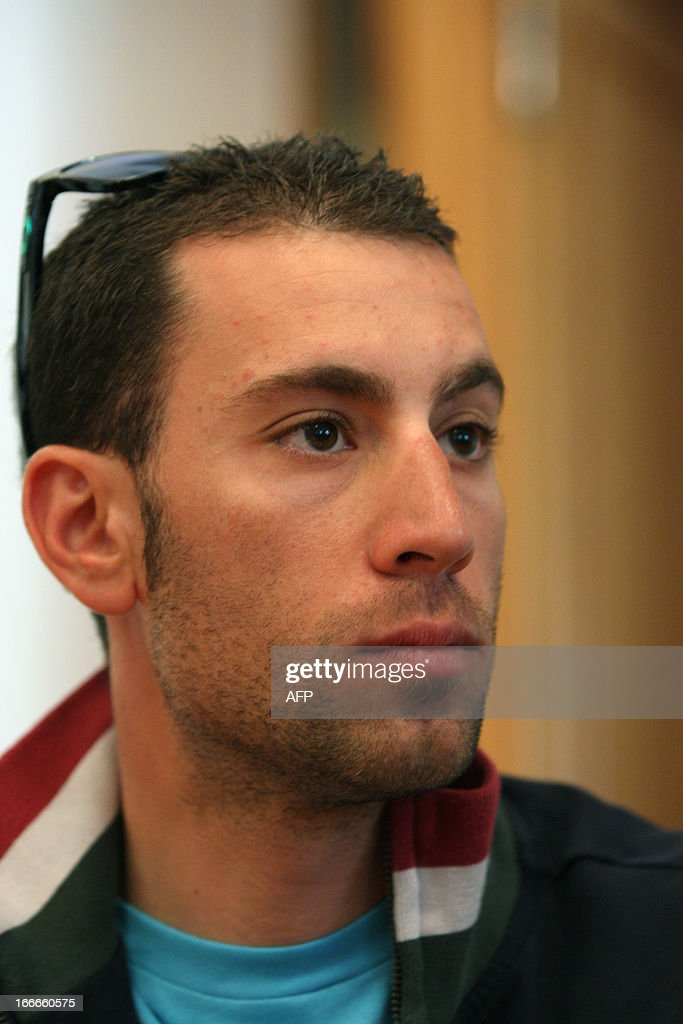 Italy's <a gi-track='captionPersonalityLinkClicked' href=/galleries/search?phrase=Vincenzo+Nibali&family=editorial&specificpeople=770634 ng-click='$event.stopPropagation()'>Vincenzo Nibali</a> of Astana Pro Team attends cycling road race 'Giro del Trentino' press conference at the city hall in Lienz, on April 15, 2013. AFP PHOTO / PIERRE TEYSSOT