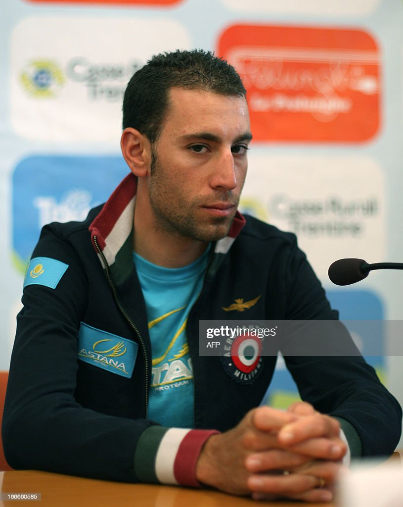 Italy's Vincenzo Nibali of Astana Pro Team attends cycling road race 'Giro del Trentino' press conference at the city hall in Lienz, on April 15, 2013.