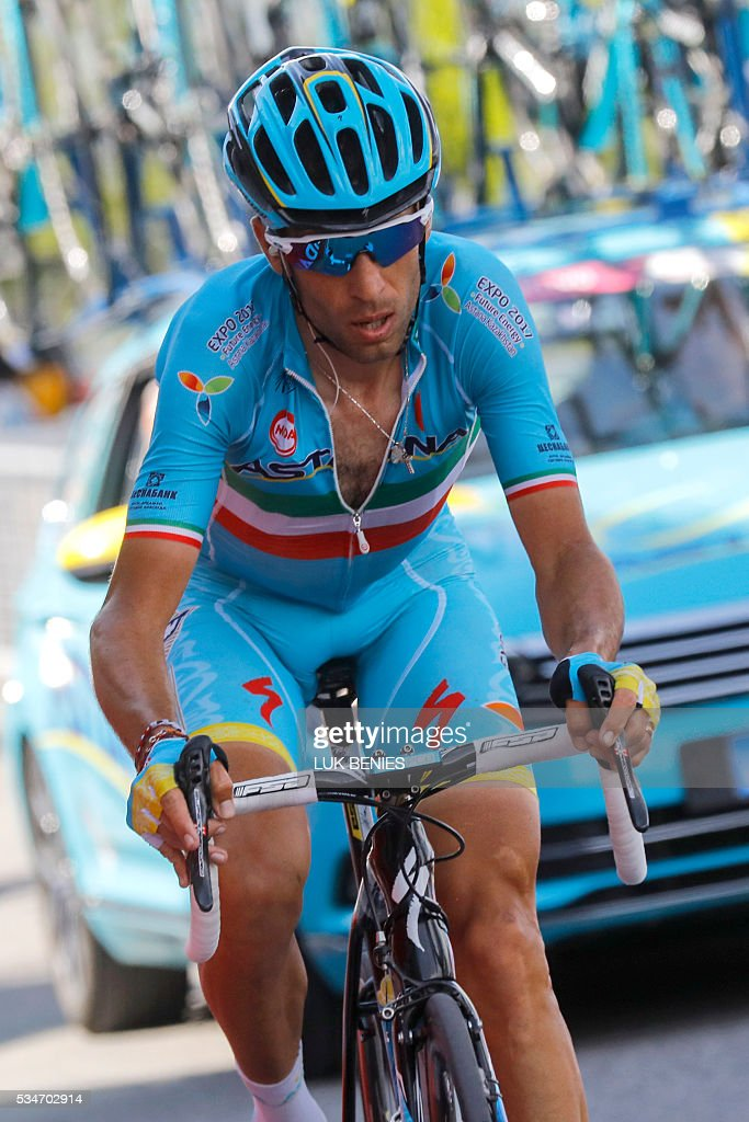 Italy's Vincenzo Nibali of team Astana rides alone during the 99th Giro d'Italia, Tour of Italy, from Pinerolo to Risoul on May 27, 2016. Italy's Vincenzo Nibali of Astana escaped alone to a summit-finish victory today whilst Colombia's Esteban Chaves rode into the pink jersey by coming third on the day. Pre-race favourite Italy's Vincenzo Nibali had been thought to be dead and buried on this Giro after dropping to fifth, but is now just 44seconds off new leader Chavez, in second place, ahead of another mountain stage on Saturday. BENIES