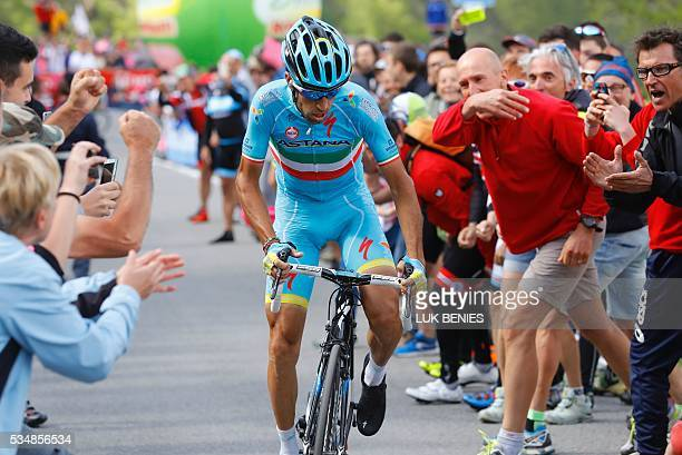 Italy's Vincenzo Nibali rides during the 20th stage of the 99th Giro d'Italia Tour of Italy from Guillestre to Sant'Anna di Vinadio on May 28 2016...