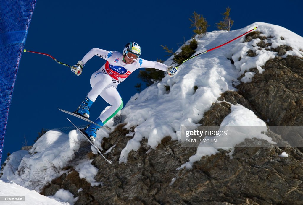 Italy's Werner Heel jumps at the 'Hundschopf' during the second training session of the FIS World Cup Men's Downhill on January 12 2012 in Wengen AFP...