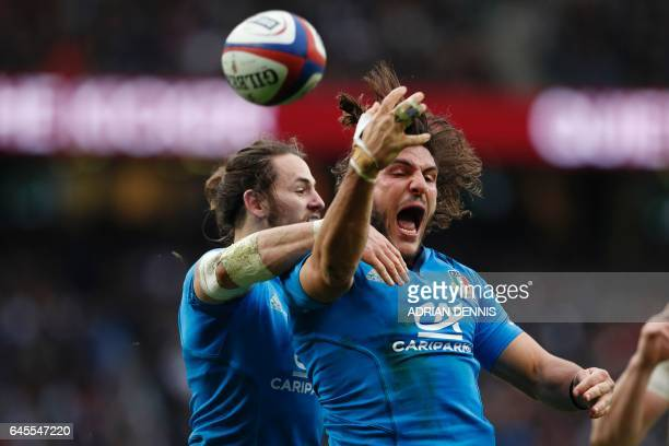 Italy's wing Giovanbattista Venditti celebrates with Italy's centre Michele Campagnaro after scoring a try during the Six Nations international rugby...