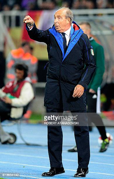 Italy'snational football team head coach Giampiero Ventura reacts during the FIFA World Cup 2018 qualifying football match between Macedonia and...