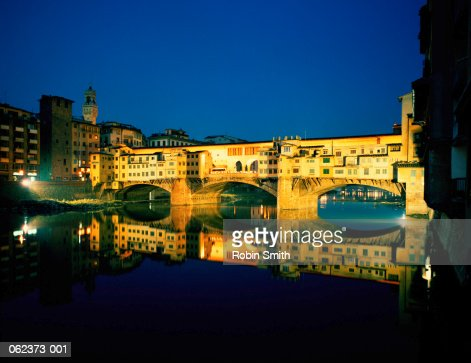 Italy,Tuscany, Florence, Ponte Vecchio illuminated at night : Stock Photo