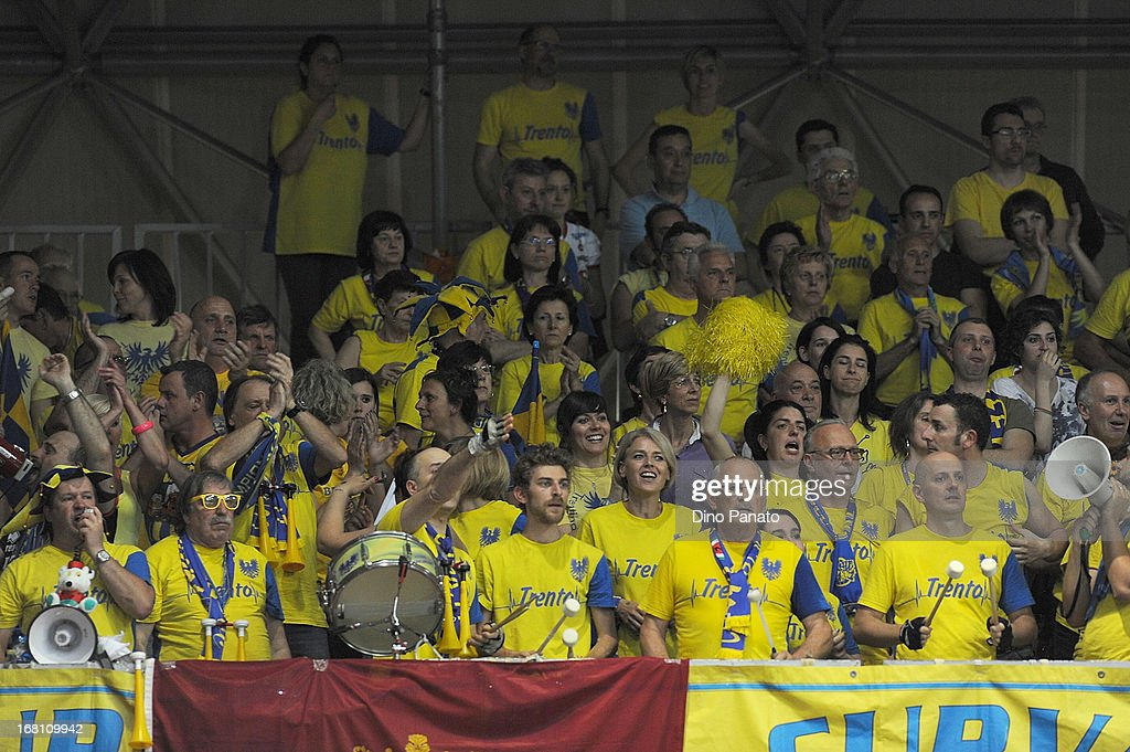 Itas Diatec Trentino fans show their support during game 4 of Playoffs Finals between Copra Elior Piacenza and Itas Diatec Trento at Palabanca on May 5, 2013 in Piacenza, Italy.