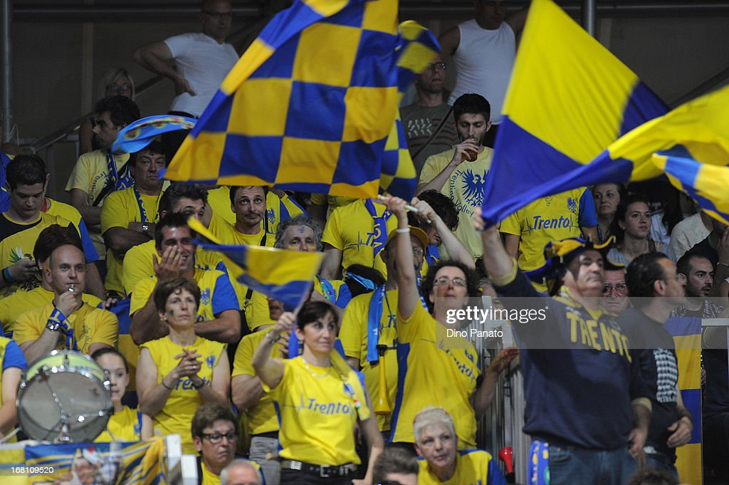 Itas Diatec Trentino fans wave flags as they show their support during game 4 of Playoffs Finals between Copra Elior Piacenza and Itas Diatec Trentino at Palabanca on May 5, 2013 in Piacenza, Italy.
