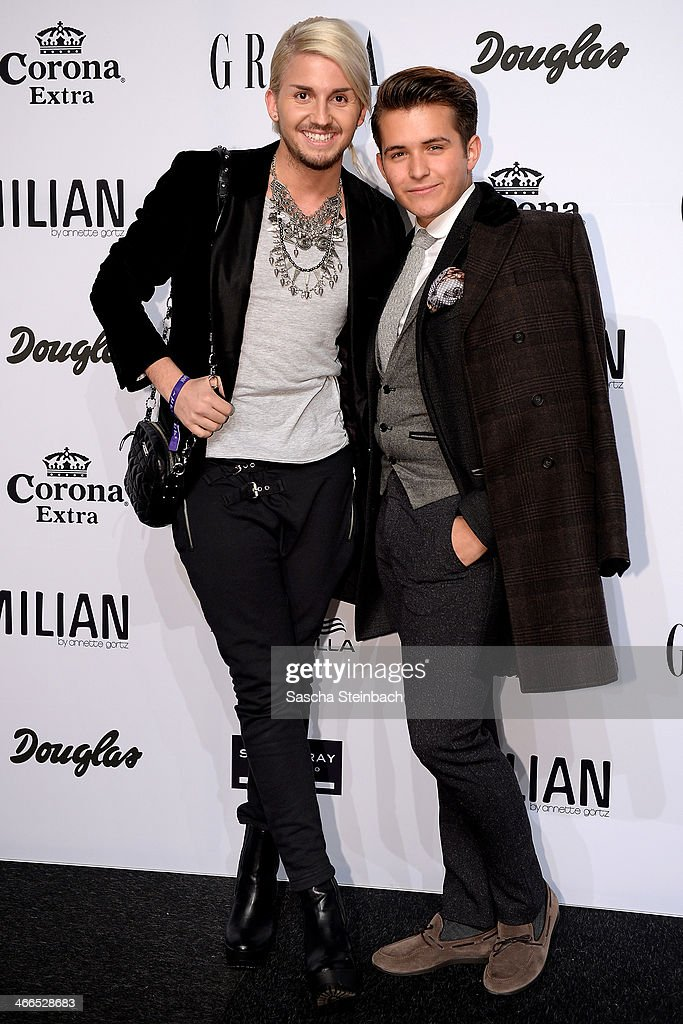 It-Boys Justus Toussis and Luca Bazzanella attend the Milian by Annette Goertz show during Platform Fashion Dusseldorf on February 1, 2014 in Dusseldorf, Germany.