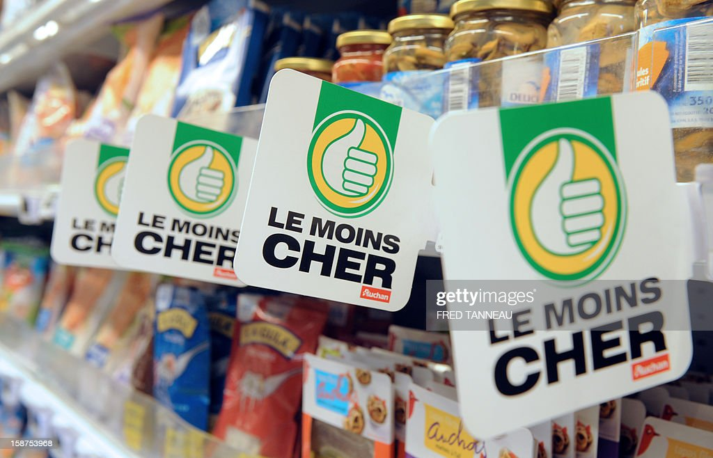 Items and label promotions are seen in a supermarket Auchan on December 27, 2012 in Saint-Sebastien-sur-Loire, western France. AFP PHOTO / FRED TANNEAU