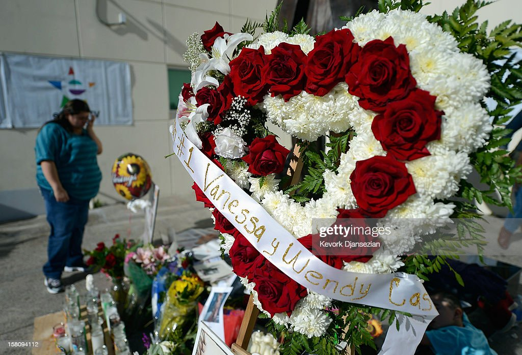 Items are displayed at a makeshift memorial for Mexican-American singer Jenni Rivera at a Mexican radio station that is playing her songs continuously all day on December 10, 2012 in Burbank, California. US authorities confirmed that Rivera, a U.S.-born singer, was killed in a plane crash in rugged territory in Nuevo Leon state in northern Mexico upon impact.