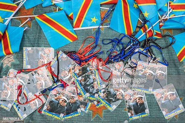 Items featuring the portrait of Etienne Tsisekedi are on sale in front of his residence in Kinshasa on July 27 2016 as Congo's veteran opposition...